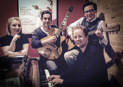 THE RHYTHM RAPSCALLIONSMournful blues, lovely ballads and rompin' jazz standards. A quirky yet danceable sound with a good sense of playfulness and humor.Arash Ardehali, guitar; Jessica Feathers, voice; Jens Glaser, piano.   Performing Sunday, May 3rd, from 4:15 to 5:00 pm in the 400 block of Summit.Water Hill Music Fest 2015