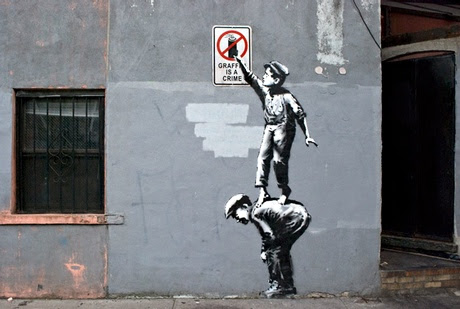 Graffiti is a Crime … a Banksy mural in New York City