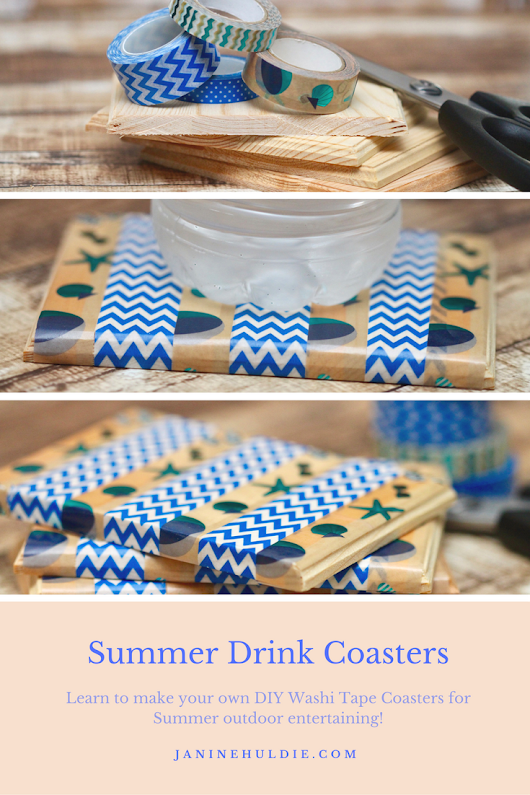 DIY Washi Tape Summer Drink Coasters - Confessions of a Mommyaholic