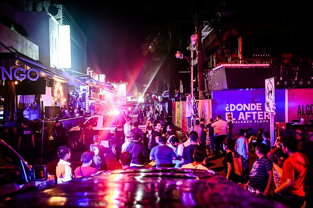 The streets of Playa del Carmen were packed with tourists and festival attendees after the shooting early Monday morning