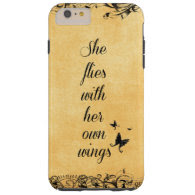 Inspirational She Flies with her own Wings Quote Tough iPhone 6 Plus Case