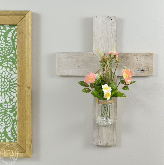 Rustic Whitewashed Wooden Cross - Refresh Living
