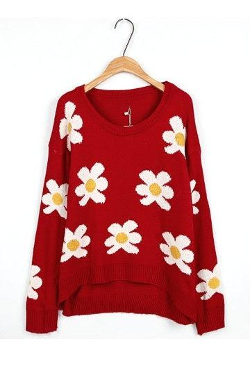 Fancy Flower Print High Low Sweater