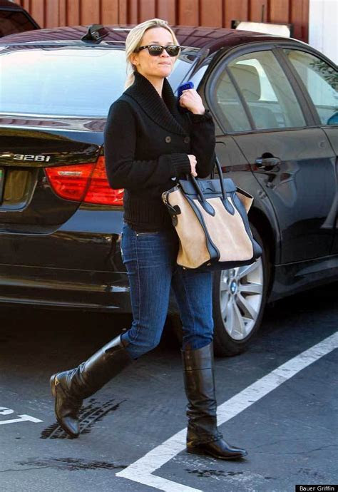 Reese Witherspoon In Riding Boots And Sweater: Look Of The
