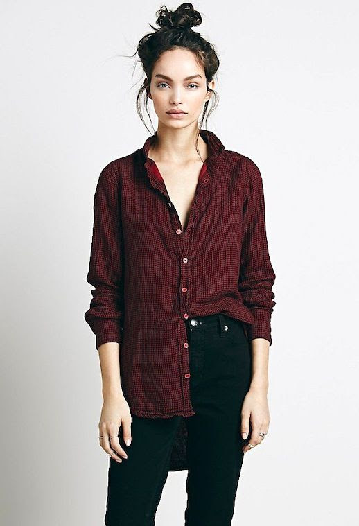 Le Fashion Blog Top Knot Dark Red Slouchy Button Down Shirt Black High Waisted Jeans Via Free People