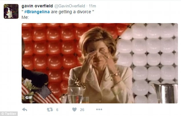 Gavin Overfield seems moved to tears by the news that the iconic Hollywood couple have split