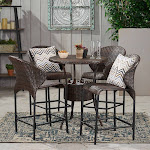 5pc Wicker Outdoor Bistro Bar Set with Ice Pail - Multibrown - Christopher Knight Home