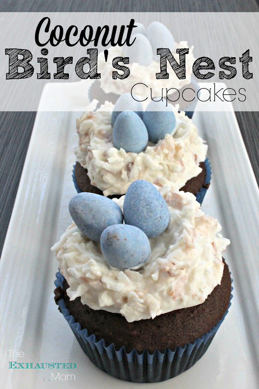 Coconut Bird's Nest Cupcakes - The Exhausted Mom