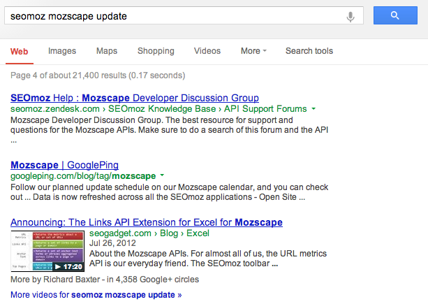 filter on Google Domain Clustering Update?