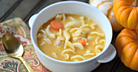 Chicken Noodle Pumpkin Soup in less than 10 Minutes!