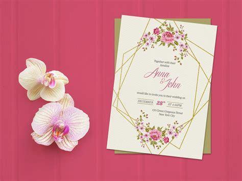 Free Wedding Invitation Card Mockup PSD   Good Mockups