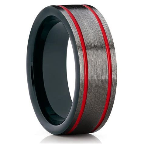 Gunmetal Tungsten Wedding Band   Red Tungsten Ring   Men's