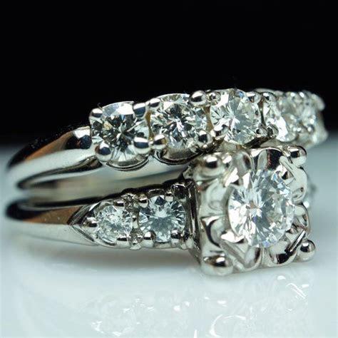 1940's Vintage Diamond Engagement Ring & Wedding Band Set