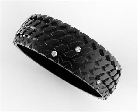 mens diamond tire tread wedding ring  black gold