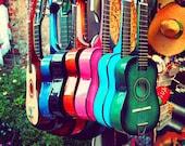 las guitarras. rainbow spanish guitars. music photo vibrant Los Angeles photograph. latin inspired, southwest decor, California art musical - MyanSoffia