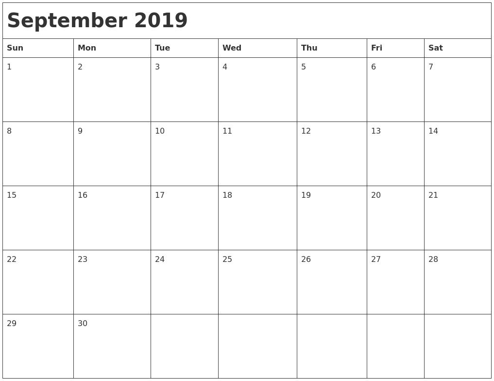 september 2019 month calendar