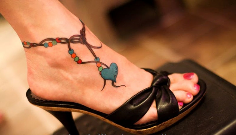 Heart Rosaey Ankle Tattoo