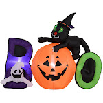 HomCom 5.5' Lighted Inflatable Outdoor Halloween Yard Decoration - Boo Black Cat Ghost Pumpkin