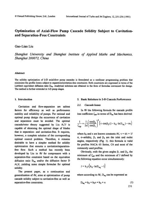 Optimization of Axial-Flow Pump Cascade Solidity Subject