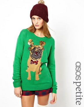 Image 1 of ASOS PETITE Christmas Jumper with Pug
