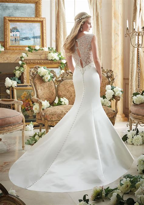 Dazzling Beaded Embroidery on Duchess Satin Wedding Dress
