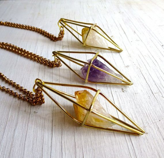 Citrine Necklace November Birthstone Geometric by AustinModern on Etsy
