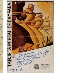 Un postal miliciano expuesto en la exhibición