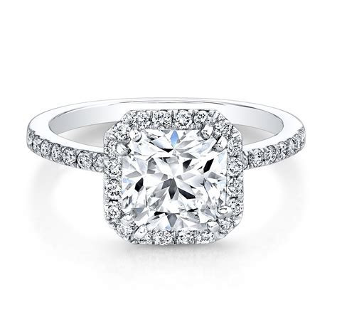 White Gold Square Halo Bezel Set Diamond Ring   Engagement