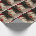 Cute akita dog giving paw santa hat cone christmas wrapping paper