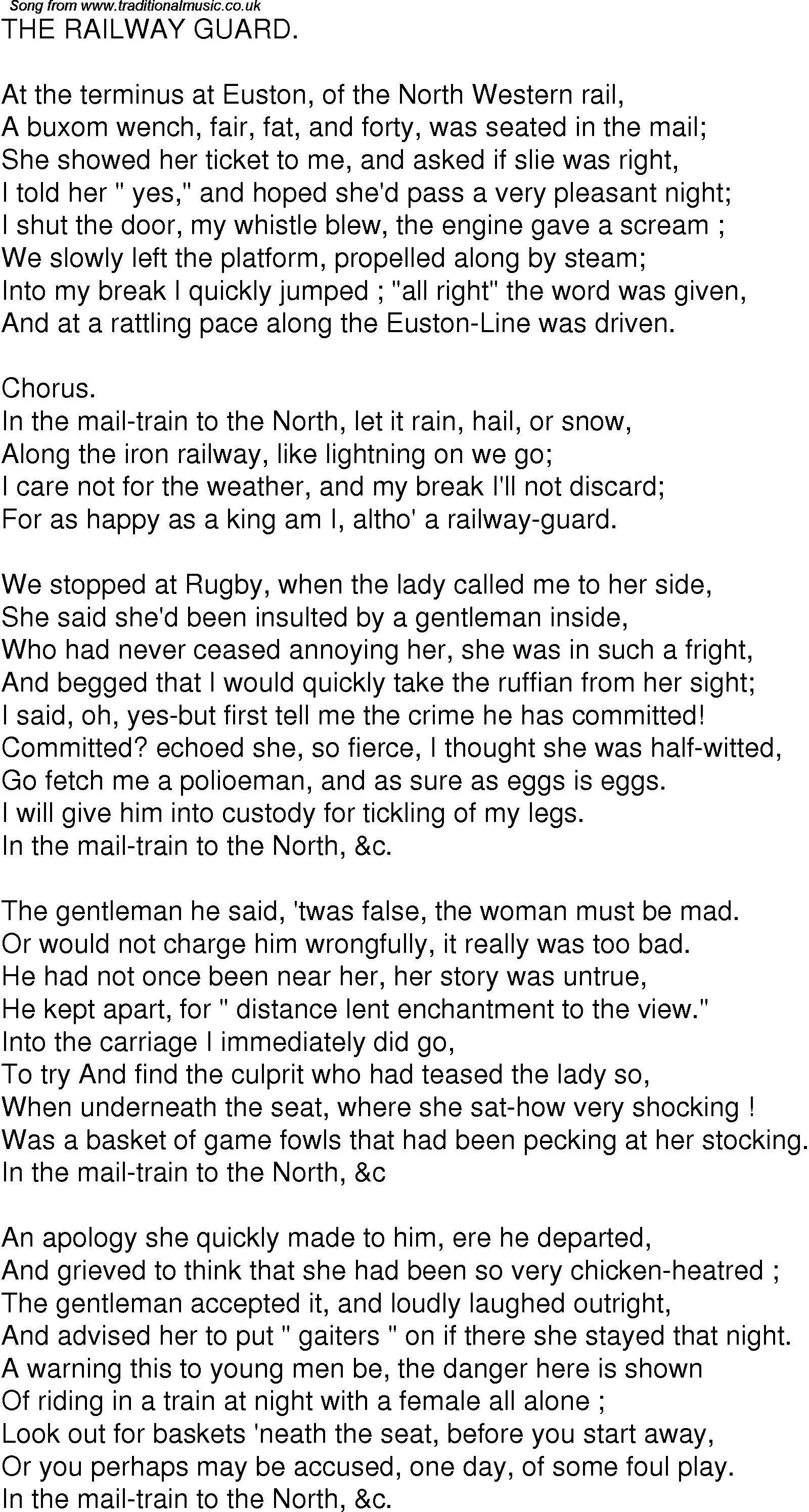 Old Time Song Lyrics for 07 The Railway Guard