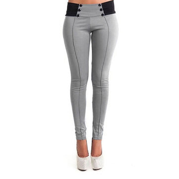 Slim Double Breasted Patchwork Elastic Skinny Women Pencil Trousers Pants