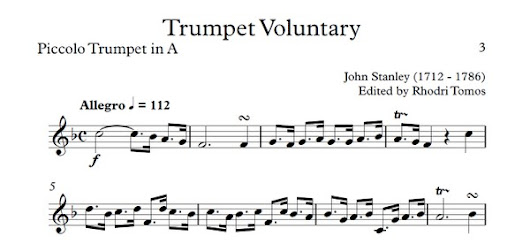 Trumpet Voluntary (Stanley) - trumpet sheet music and play along accompaniment