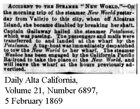 World broke shaft; Washoe substitute for California Pacific - Daily Alta California, Volume 21, Number 6897, 5 February 1869.