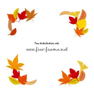 秋らしい色づいた葉っぱのイラストコーナーフレーム 無料