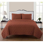 VCNY Home Kaleidoscope Embossed Quilt Set - Orange - King