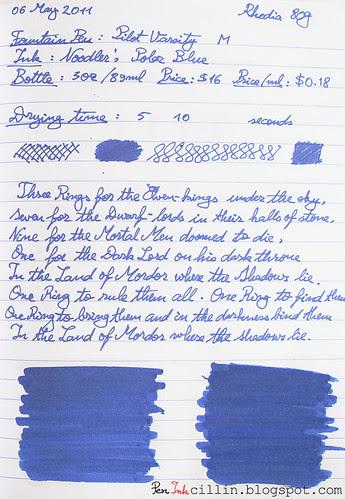Noodler's Polar Blue on Rhodia 80g
