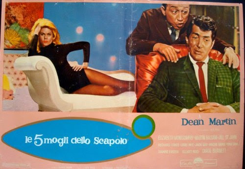 WHO'S BEEN SLEEPING IN MY BED? (1963) - DEAN MARTIN MOVIE POSTERS (Part 9/10)Another romantic comedy directed by Daniel Mann in which DEAN MARTIN exudes effortless cool as a TV host hit by midlife crisis between his soon to be wife (Elizabeth Montgomery pre-Bewitched fame) and the sultry Jill St. John. Watch the dinner scene hereAbove is a colorful italian fotobusta poster.In April 2016 All our RAT PACK (Frank Sinatra, Dean Martin, Sammy Davis Jr…) posters are ON SALE HereIf you like this entry, check the other 9 parts of this week's Blog as well as our Blog Archives and all our NEW POSTERSThe poster above courtesy of ILLUSTRACTION GALLERY