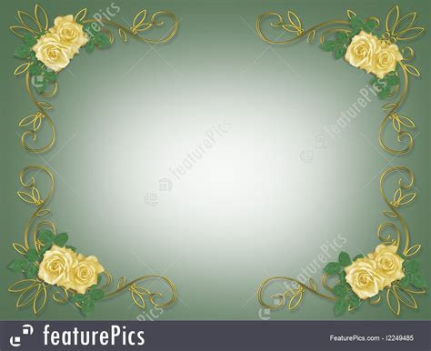 Templates: Yellow Roses Wedding Invitation Border   Stock