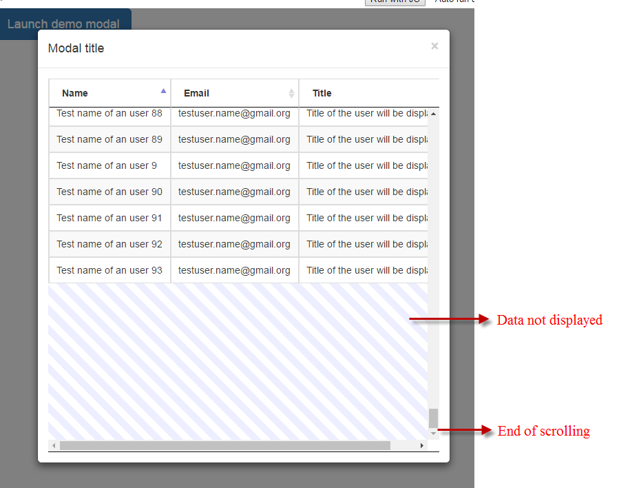 jQuery DataTable - all records are not displayed when placed in