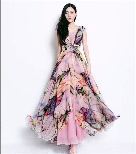 SALE Bohemian Floral Print Dress Pleated Full Skirt Wrap A