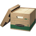 Bankers Box Stor/File Extra Strength Storage Boxes, Kraft/Green - 12 pack