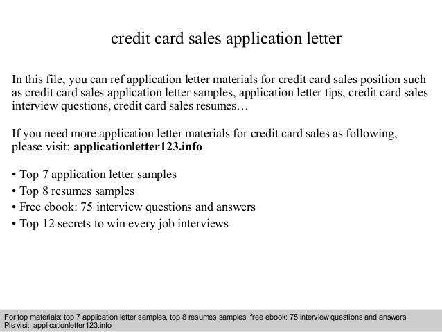Credit Card Sales Application Letter