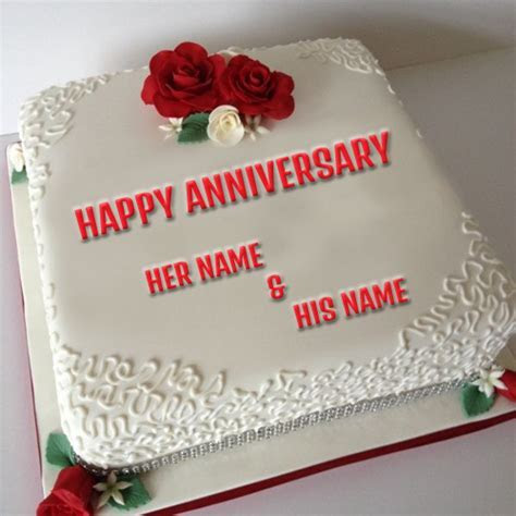 Write Your Couple Name On Anniversary Cake Picture