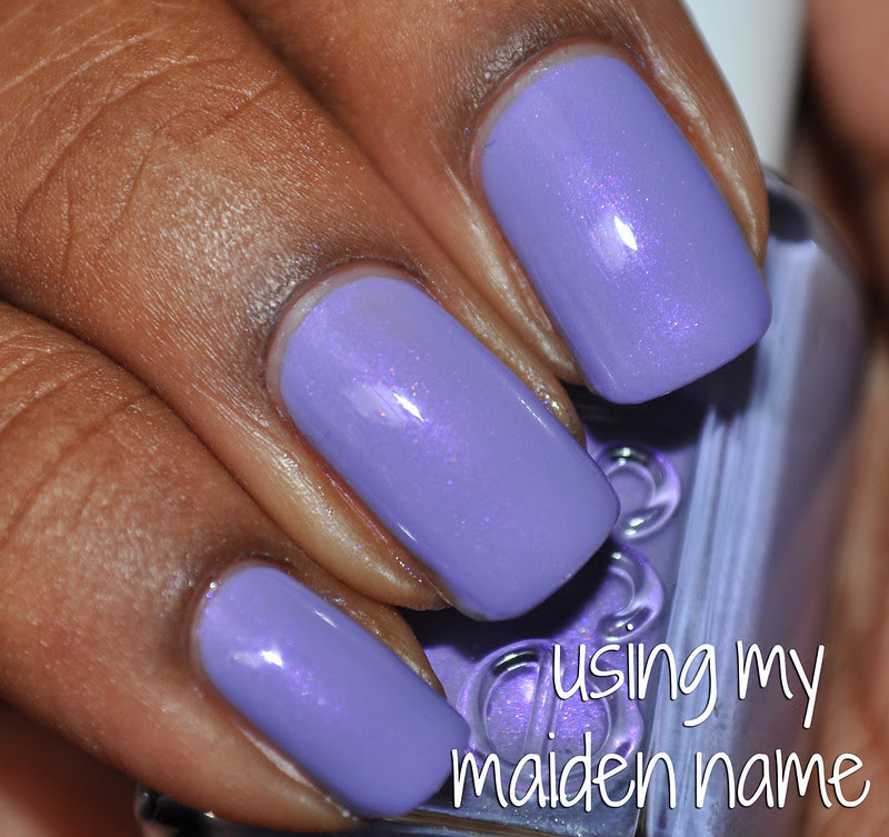 Essie Using My Middle name swatch nail polish purple shimmer