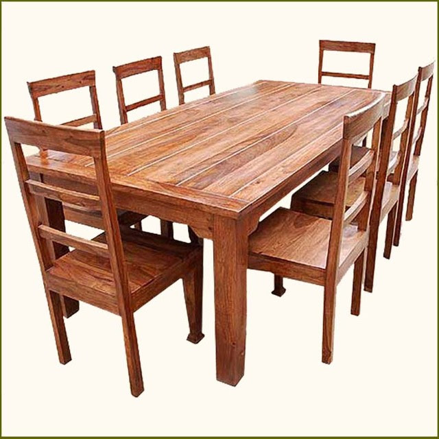 9 pc Solid Wood Rustic Contemporary Dinette Dining Room Table ...