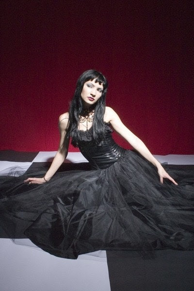 Black Roses PVC and Tulle Dress- X Small (sale)
