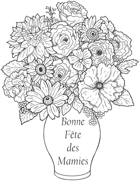 Coloriage Anti Stress Fete Des Grands Meres Bouquet Bonne Fête Mamie 5