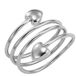 Silver Heart Wraparound Magnetic Therapy Resizable Ring