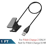 For Fitbit Charge 2 Charger Replacement USB Charging Cable Dock Cord Adapter Smart Fitness Activity Tracker by Insten (Length: 1 feet)