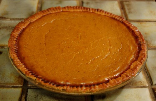 Pumpkin pie with pat in the pan butter crust by Eve Fox, Garden of Eating blog